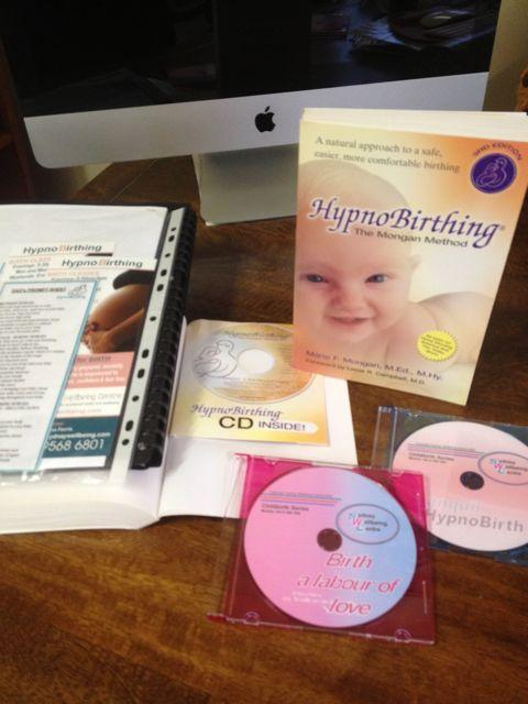 Hypnobirthing class handouts, book and cds