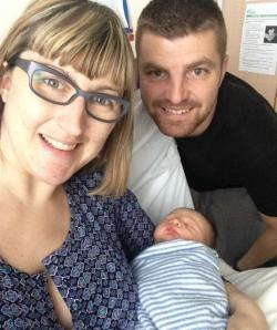 Hypnobirthing family, mum and baby thriving after birth